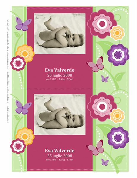 Biglietti annuncio nascita con foto (tema fiori)