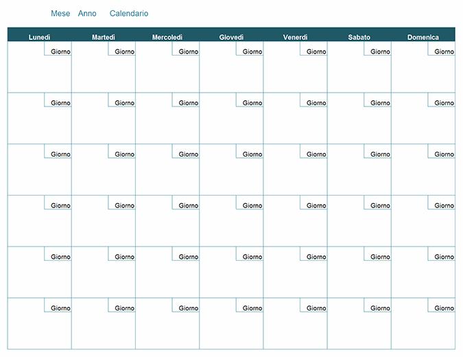 Preferenza Calendario mensile vuoto PX06