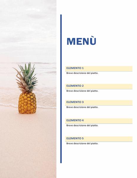 Menù per feste (schema Sole e sabbia)