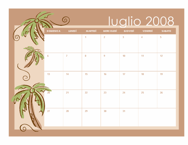 Calendario scolastico 2008-2009 (temi mensili, 13 p., da luglio a luglio)