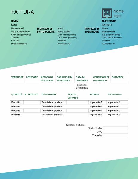 Fattura di vendita (schema Sfumature di verde)