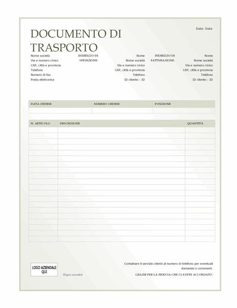 Documento di trasporto (schema Sfumature di verde)