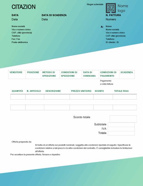 Offerta di vendita (schema Sfumature di verde)