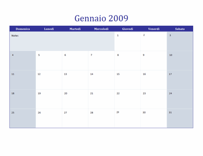 Calendario 2009 su più fogli di lavoro