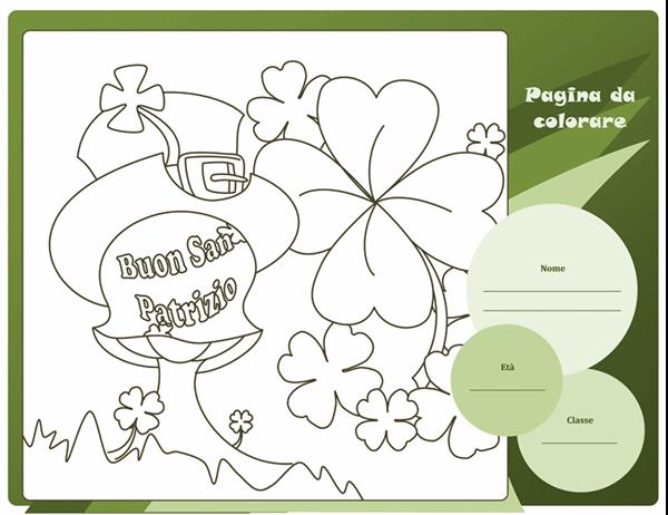 Pagina da colorare di San Patrizio (trifoglio)