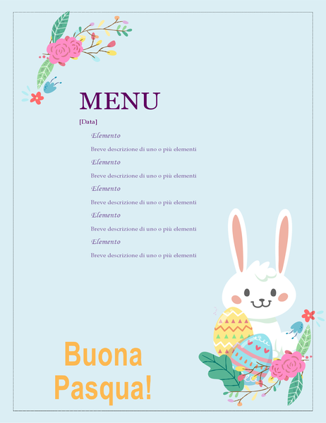 Menu per festa di Pasqua