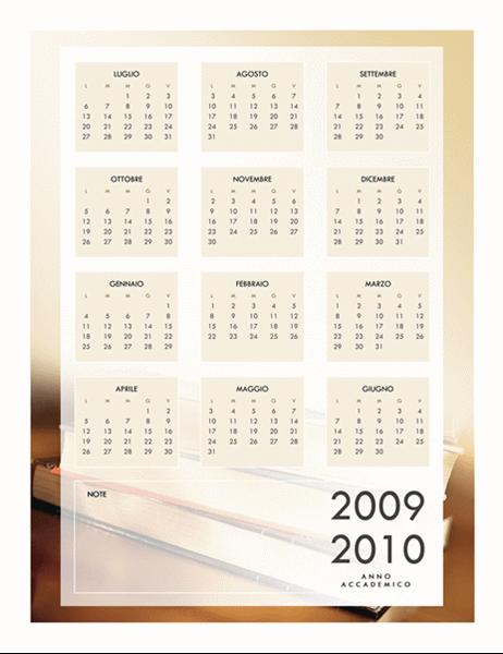 Calendario accademico 2009-2010 (1 pagina, lunedì-venerdì)