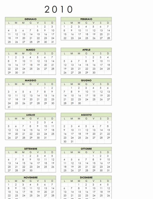Calendario 2010 (1 pagina, orientamento verticale, lunedì-domenica)
