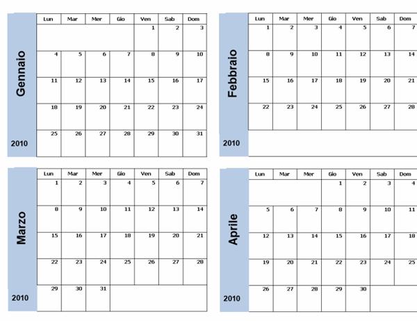 Calendario 2010 con bordo blu (3 pp., lun-dom)