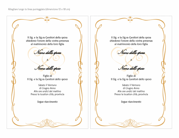 Partecipazioni di nozze (schema Cuori ornamentali, formato A7, 2 per pagina)