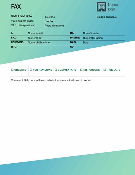 Frontespizio del fax (schema Sfumature di verde)