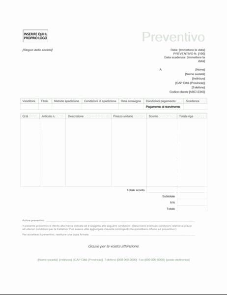 Preventivo vendita (set di schemi Verde)