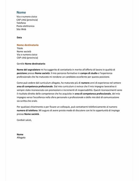 Lettera di presentazione per curriculum funzionale