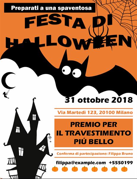 Volantino spettrale per la festa di Halloween con pipistrello