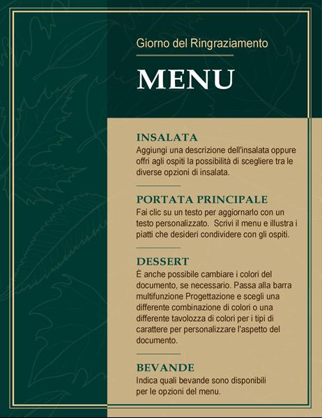 Elegante menu del Giorno del Ringraziamento