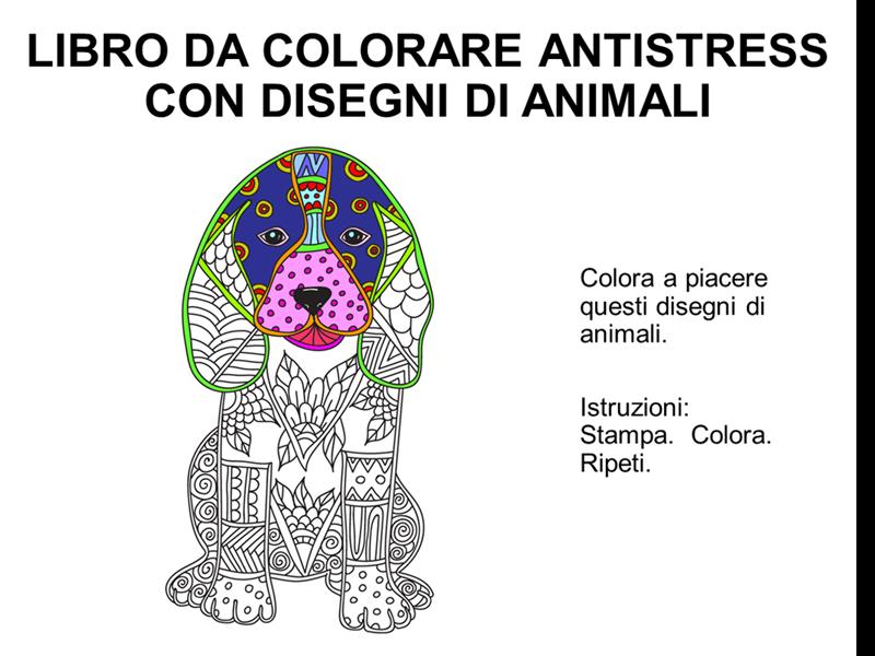 Libro da colorare antistress con disegni di animali