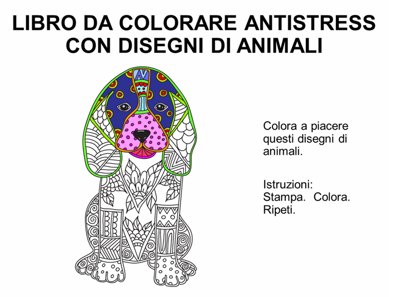Libro da colorare antistress con disegni di animali