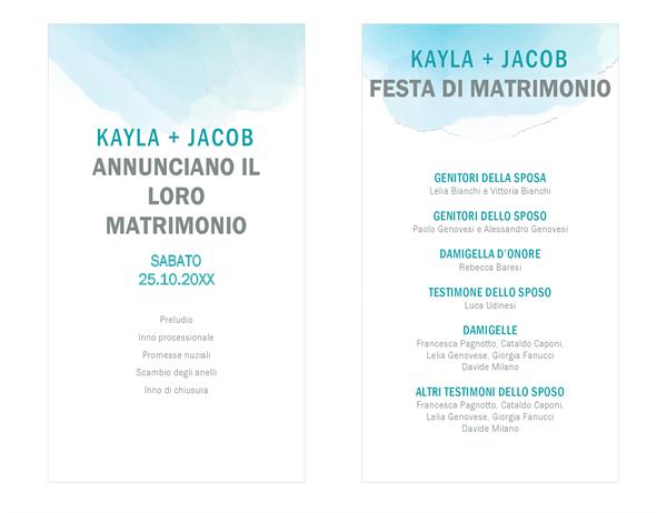 Programma del matrimonio sfumature acquerello