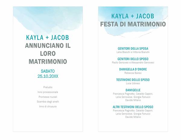 Programma del matrimonio con sfumature acquerello