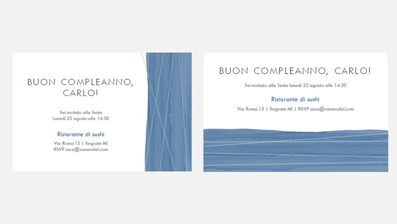 Inviti festa con nastro azzurro (due per pagina)
