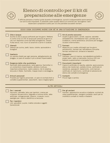 Elenco di controllo per il kit di preparazione alle emergenze