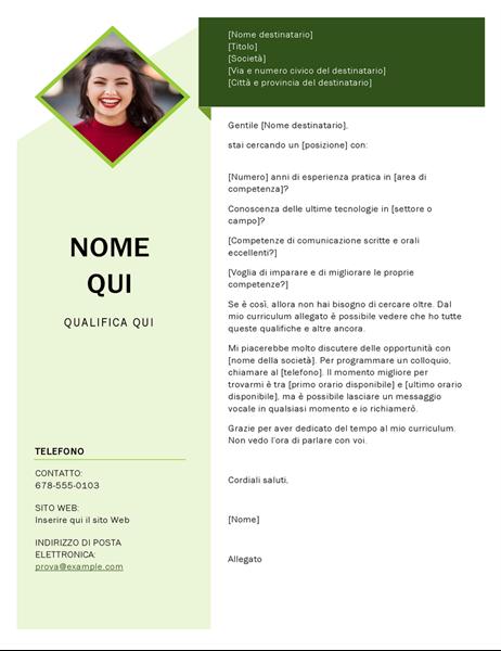 Lettera di presentazione cubo verde