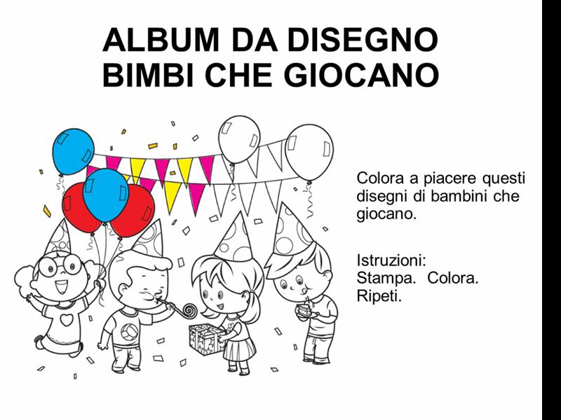 Libro da colorare bimbi che giocano