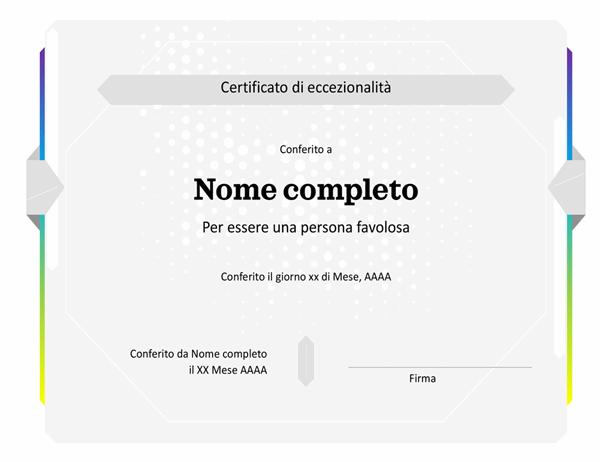 Certificato di eccezionalità