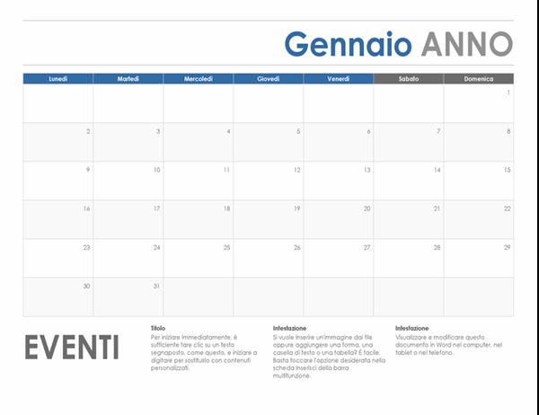 Calendario orizzontale (inizio lunedì)
