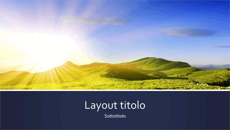 Presentazione a tema naturale a strisce blu con foto di un'alba in montagna (widescreen)
