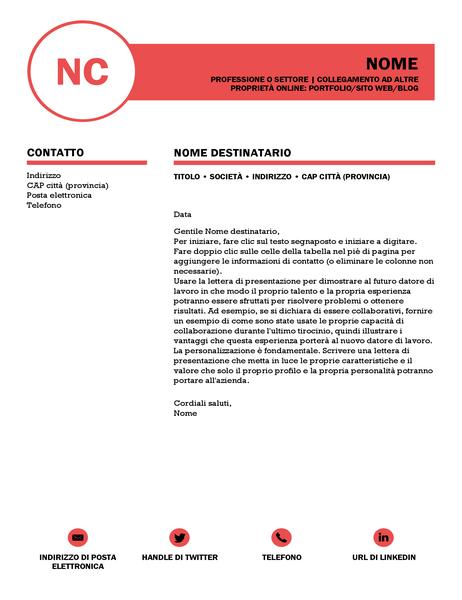 Lettera di presentazione raffinata, progettata da MOO