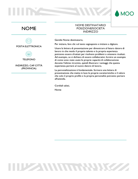 Lettera di presentazione creativa, progettata da MOO