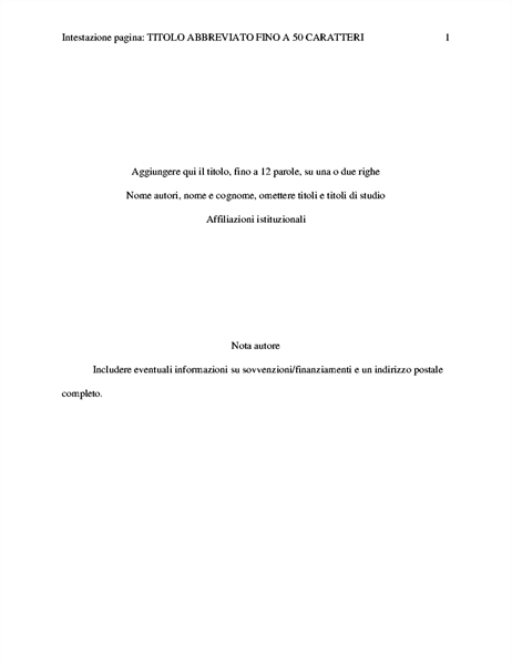 Documento in stile APA