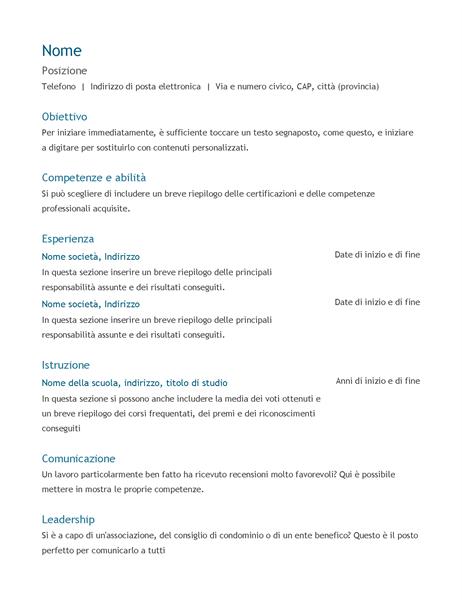 Curriculum (cronologico)