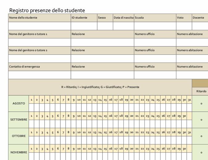 Registro presenze dello studente (semplice)