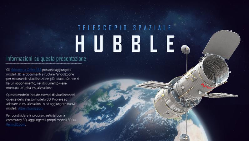 Presentazione PowerPoint 3D (modello Telescopio Hubble)