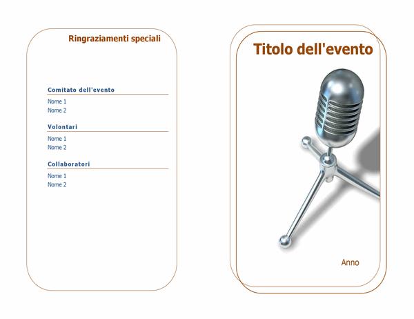 Programma eventi (piegatura centrale)