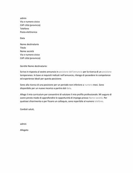 Lettera di presentazione per curriculum per un lavoro temporaneo