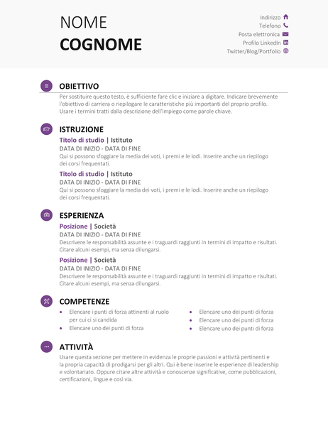 Curriculum studente (schema Moderno)