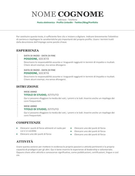 Curriculum cronologico moderno