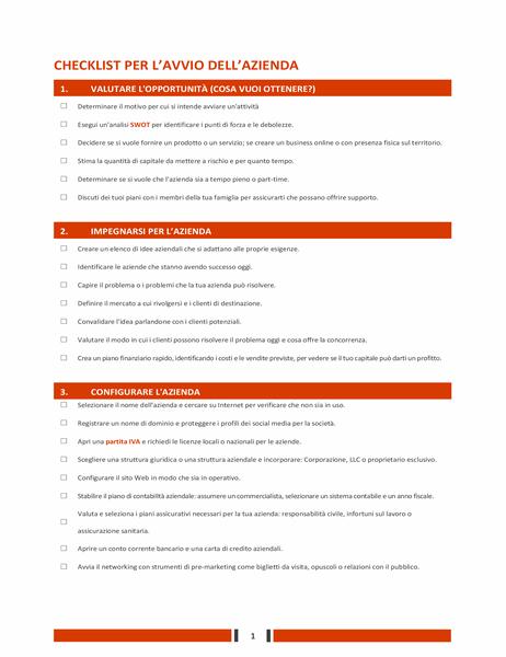 Elenco di controllo per una startup aziendale