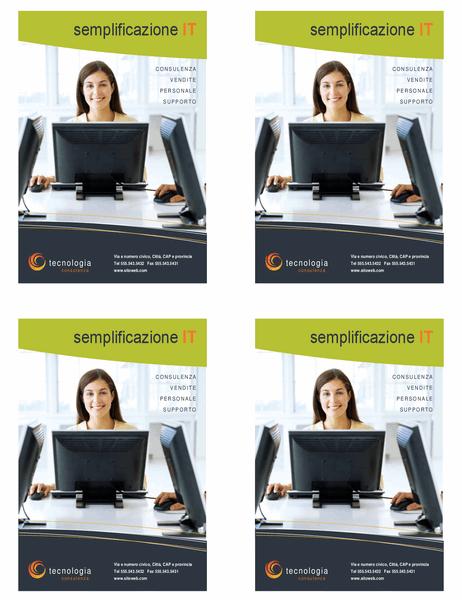 Volantino per aziende tecnologiche (un quarto di pagina, 4 per pagina)