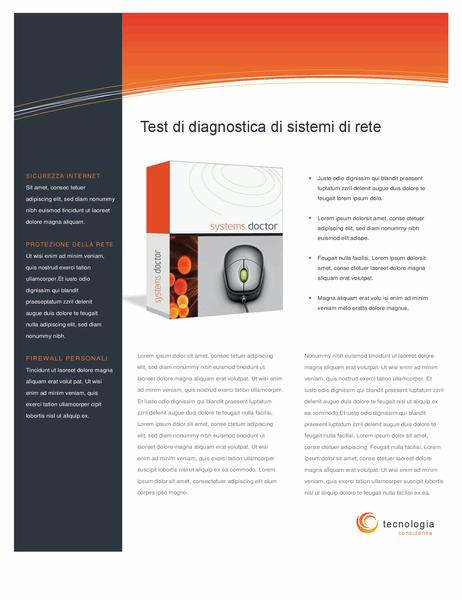 Foglio dati di azienda tecnologica (fronte/retro)