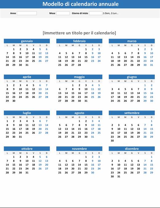 Calendario annuale (verticale)