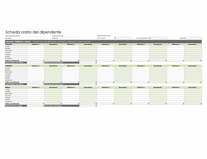 Scheda orario del dipendente (giornaliera, settimanale, mensile e annua)