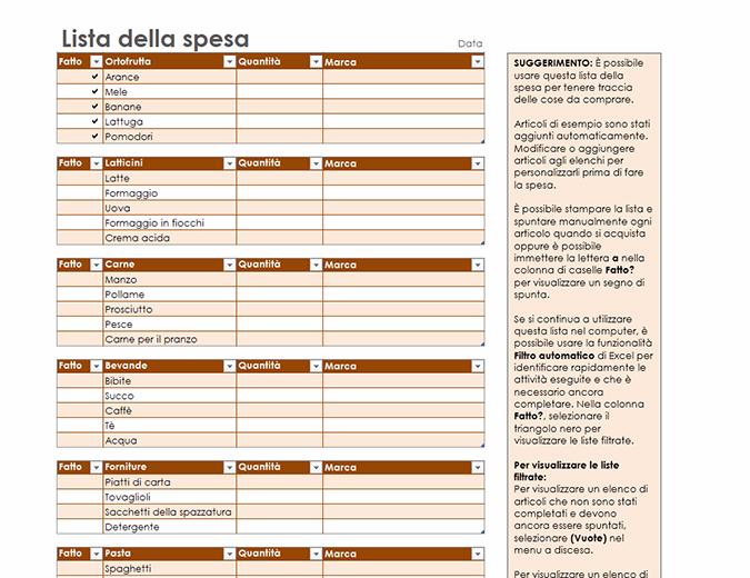 Lista della spesa con spazio per il marchio