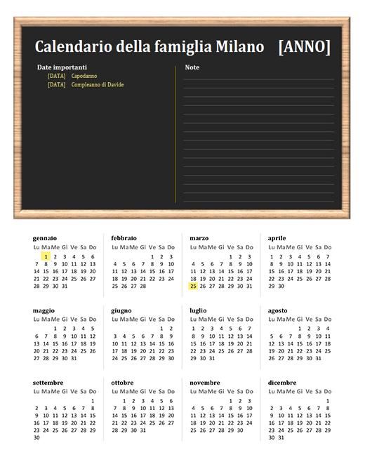Calendario familiare (qualsiasi anno, lun-dom)