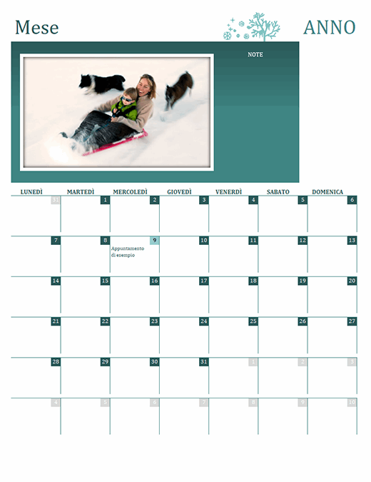 Calendario stagionale famiglia (qualsiasi anno, lun-dom)