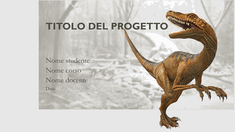 Presentazione di una relazione scolastica con modellini di dinosauri