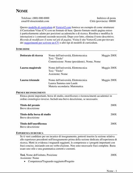 CV esteso (curriculum)